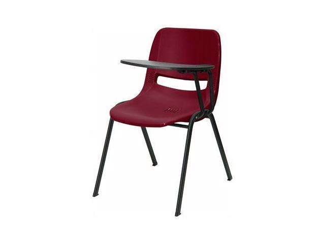 Flash Furniture Burgundy Ergonomic Shell Chair with Left Handed Tablet Arm [RUT-EO1-BY-LTAB-GG]