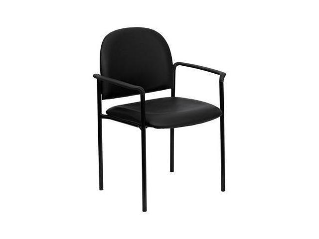 Flash Furniture Black Vinyl Comfortable Stackable Steel Side Chair with Arms [BT-516-1-VINYL-GG]