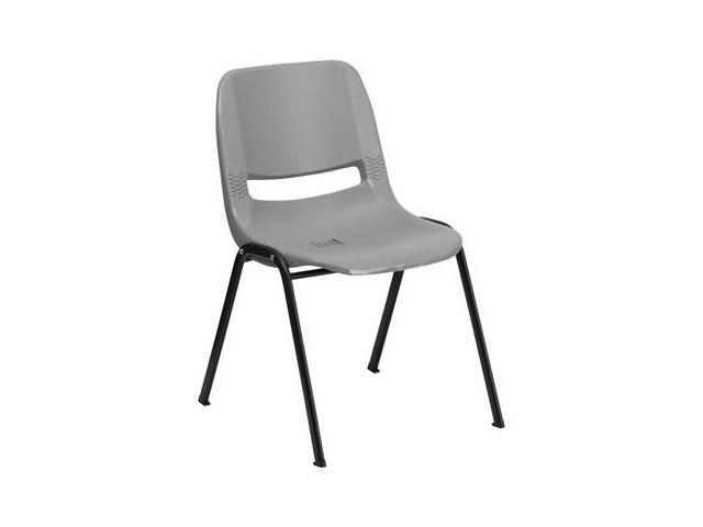 Flash Furniture HERCULES Series 880 lb. Capacity Gray Ergonomic Shell Stack Chair [RUT-EO1-GY-GG]