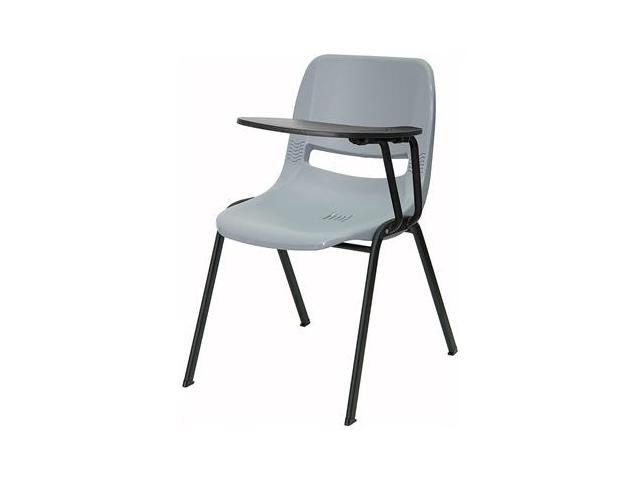 Flash Furniture Gray Ergonomic Shell Chair with Left Handed Tablet Arm [RUT-EO1-GY-LTAB-GG]