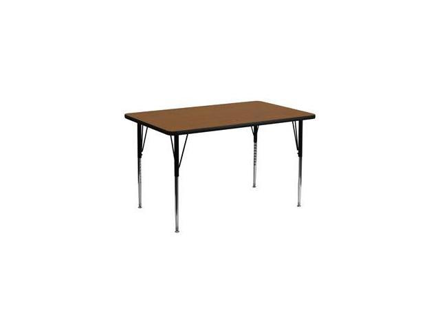 Flash Furniture 30''W x 60''L Rectangular Activity Table with 1.25'' Thick High Pressure Oak Laminate Top and Standard Height Adjustable Legs [XU-A3060-REC-OAK-H-A-GG