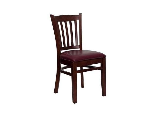 Flash Furniture HERCULES Series Mahogany Finished Vertical Slat Back Wooden Restaurant Chair with Burgundy Vinyl Seat [XU-DGW0008VRT-MAH-BURV-GG]