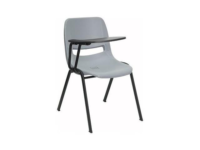 Flash Furniture Gray Ergonomic Shell Chair With Right Handed Tablet Arm RUT
