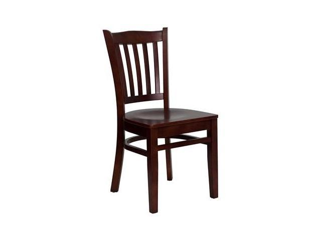 Flash Furniture HERCULES Series Mahogany Finished Vertical Slat Back Wooden Restaurant Chair [XU-DGW0008VRT-MAH-GG]
