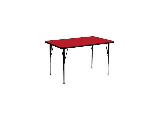 Flash Furniture 30''W x 60''L Rectangular Activity Table with 1.25'' Thick High Pressure Red Laminate Top and Standard Height Adjustable Legs [XU-A3060-REC-RED-H-A-GG