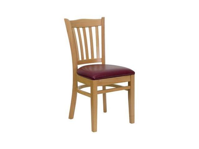 Flash Furniture HERCULES Series Natural Wood Finished Vertical Slat Back Wooden Restaurant Chair with Burgundy Vinyl Seat [XU-DGW0008VRT-NAT-BURV-GG]