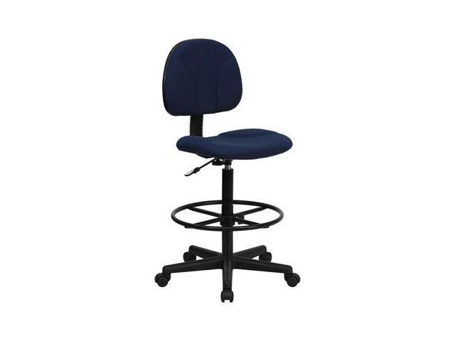 Flash Furniture Navy Blue Patterned Fabric Multi-Functional Ergonomic Drafting Stool (Adjustable Range 26''-30.5''H or 22.5''-27''H) [BT-659-NVY-GG]