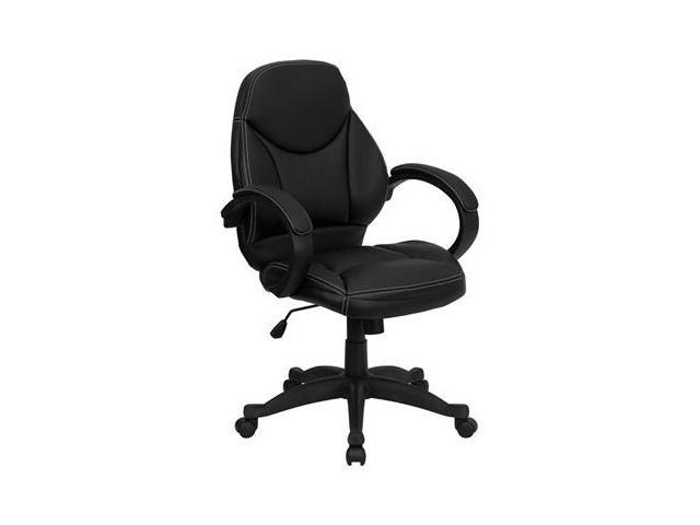 Flash Furniture Mid-Back Black Leather Contemporary Office Chair [H-HLC-0005-MID-1B-GG]