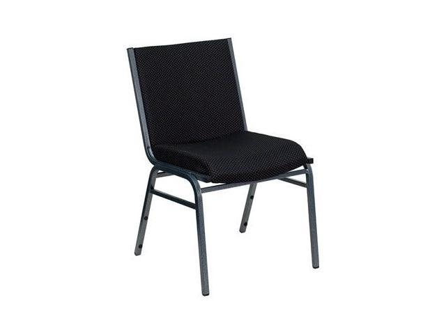Flash Furniture HERCULES Series Heavy Duty, 3'' Thickly Padded, Black Patterned Upholstered Stack Chair [XU-60153-BK-GG]