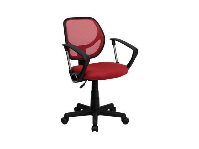 Flash Furniture Mid-Back Red Mesh Task Chair and Computer Chair with Arms [WA-3074-RD-A-GG]