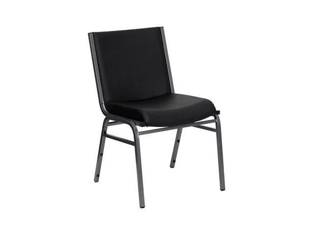 Flash Furniture HERCULES Series Heavy Duty, 3'' Thickly Padded, Black Vinyl Upholstered Stack Chair [XU-60153-BK-VYL-GG]