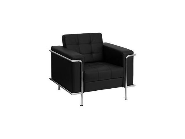 Lesley Series Black Leather Love Seat with Encasing Frameby Flash Furniture