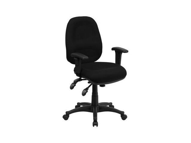 Flash Furniture Mid-Back Multi-Functional Black Fabric Swivel Computer Chair [BT-662-BK-GG]