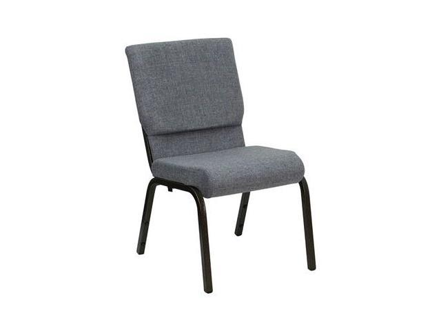 Flash Furniture HERCULES Series 18.5'' Wide Gray Stacking Church Chair with 4.25'' Thick Seat - Gold Vein Frame [XU-CH-60096-BEIJING-GY-GG]
