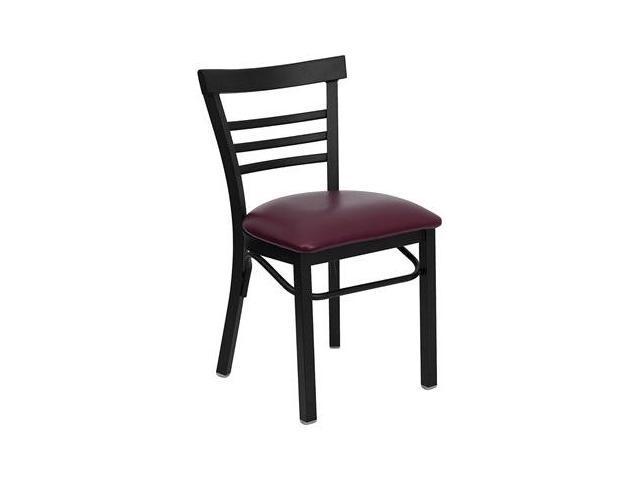 Flash Furniture HERCULES Series Black Ladder Back Metal Restaurant Chair with Burgundy Vinyl Seat [XU-DG6Q6B1LAD-BURV-GG]