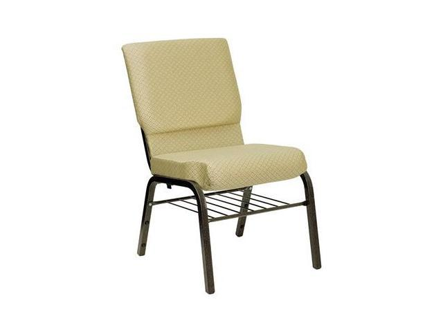 Flash Furniture HERCULES Series 18.5'' Wide Beige Patterned Church Chair with 4.25'' Thick Seat Book Rack - Gold Vein Frame [XU-CH-60096-BGE-BAS-GG]