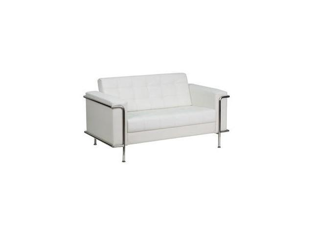 Flash Furniture HERCULES Lesley Series Contemporary White Leather Love Seat with Encasing Frame [ZB-LESLEY-8090-LS-WH-GG]