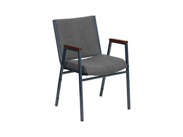Flash Furniture HERCULES Series Heavy Duty, 3'' Thickly Padded, Gray Upholstered Stack Chair with Arms [XU-60154-GY-GG]