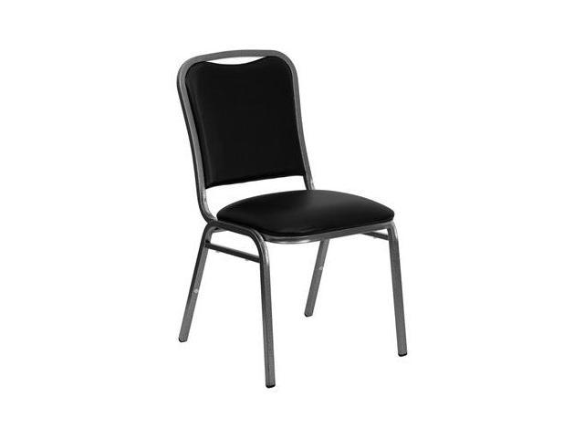 Flash Furniture HERCULES Series Stacking Banquet Chair with Black Vinyl and 1.5'' Thick Seat - Silver Vein Frame [NG-108-SV-BK-VYL-GG]
