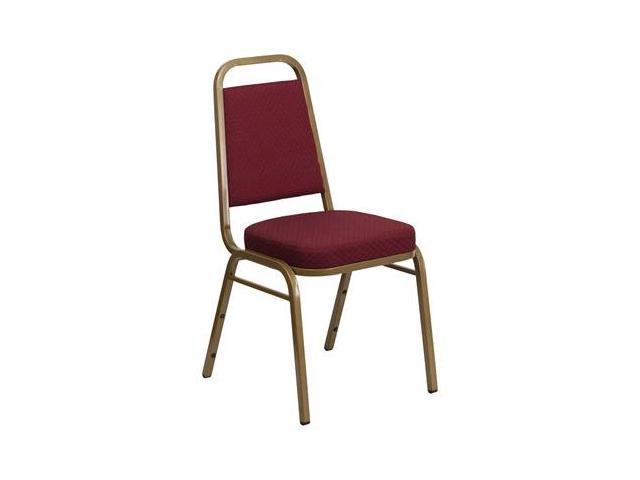 Flash Furniture HERCULES Series Trapezoidal Back Stacking Banquet Chair with Burgundy Patterned Fabric and 2.5'' Thick Seat - Gold Frame [FD-BHF-1-ALLGOLD-0847-BY-GG]