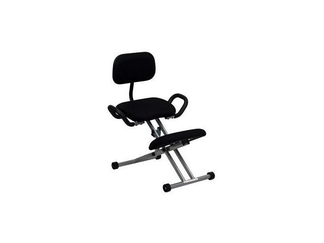 Flash Furniture Ergonomic Kneeling Chair in Black Fabric with Back and Handles [WL-3439-GG]