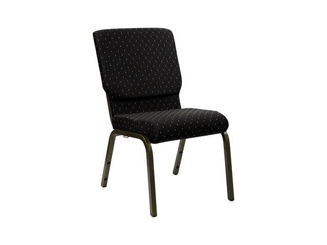 Flash Furniture HERCULES Series 18.5'' Wide Black Dot Patterned Stacking Church Chair with 4.25'' Thick Seat - Gold Vein Frame [XU-CH-60096-BK-GG]