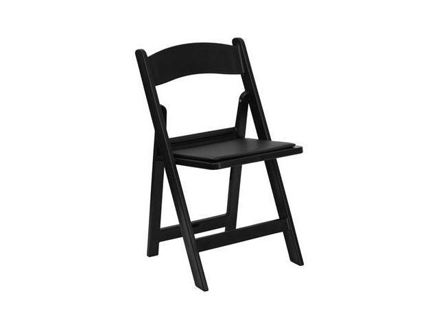 Flash Furniture HERCULES Series 1000 lb. Capacity Black Resin Folding Chair with Black Vinyl Padded Seat [LE-L-1-BLACK-GG]