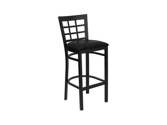 Flash Furniture HERCULES Series Black Window Back Metal Restaurant Bar Stool with Black Vinyl Seat [XU-DG6R7BWIN-BAR-BLKV-GG]