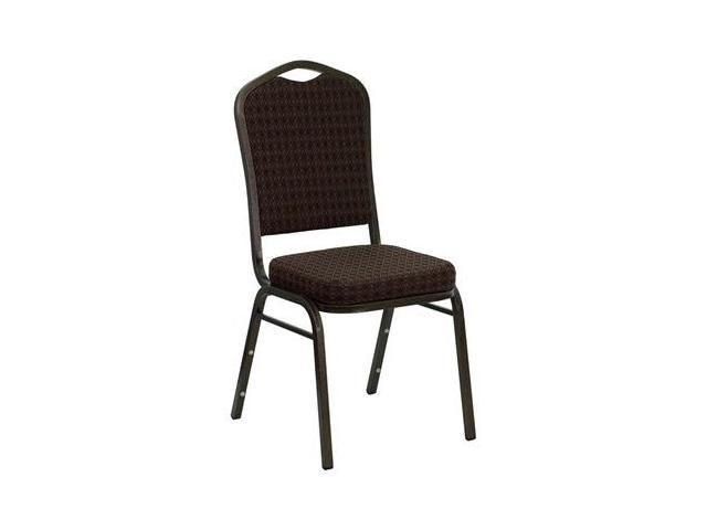 Flash Furniture HERCULES Series Crown Back Stacking Banquet Chair with Brown Patterned Fabric and 2.5'' Thick Seat - Gold Vein Frame [NG-C01-BROWN-GV-GG]