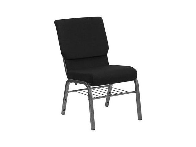 Flash Furniture HERCULES Series 18.5'' Wide Black Church Chair with 4.25'' Thick Seat Book Rack - Silver Vein Frame [XU-CH-60096-BK-SV-BAS-GG]