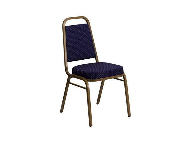 Flash Furniture HERCULES Series Trapezoidal Back Stacking Banquet Chair with Navy Patterned Fabric and 2.5'' Thick Seat - Gold Frame [FD-BHF-1-ALLGOLD-0849-NVY-GG]