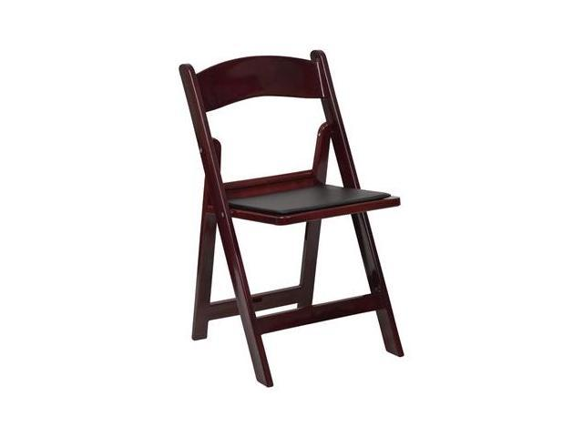 Flash Furniture HERCULES Series 1000 lb. Capacity Mahogany Resin Folding Chair with Black Vinyl Padded Seat [LE-L-1-MAH-GG]