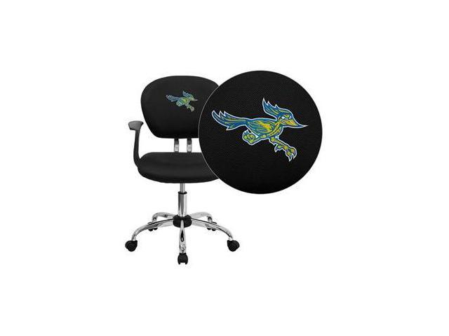 Flash Furniture California State University - Bakersfield Roadrunner Embroidered Black Mesh Task Chair with Arms and Chrome Base [H-2376-F-BK-ARMS-41013-EMB-GG]