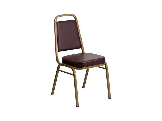 Flash Furniture HERCULES Series Trapezoidal Back Stacking Banquet Chair with Brown Vinyl and 2.5'' Thick Seat - Gold Frame [FD-BHF-1-ALLGOLD-BN-GG]
