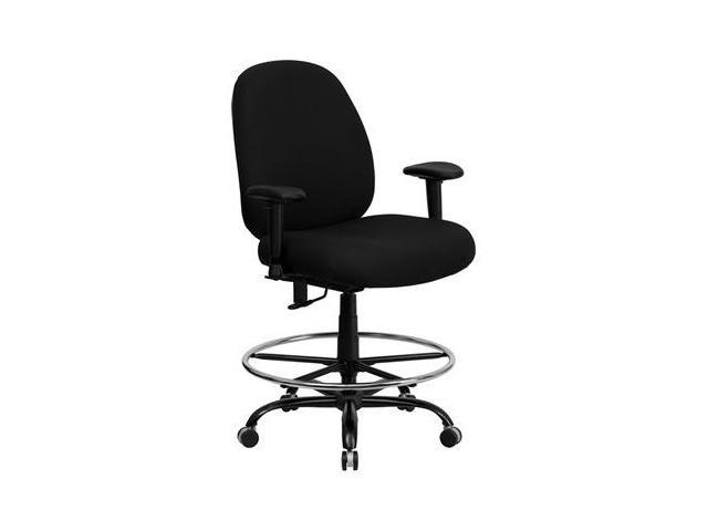 Flash Furniture HERCULES Series 400 lb. Capacity Big and Tall Black Fabric Office Chair with Arms and Extra WIDE Seat [WL-715MG-BK-A-GG]