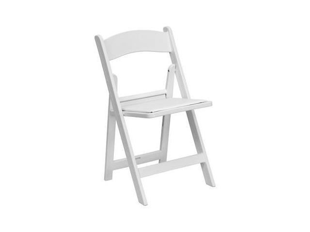 Flash Furniture HERCULES Series 1000 lb. Capacity White Resin Folding Chair with White Vinyl Padded Seat [LE-L-1-WHITE-GG]