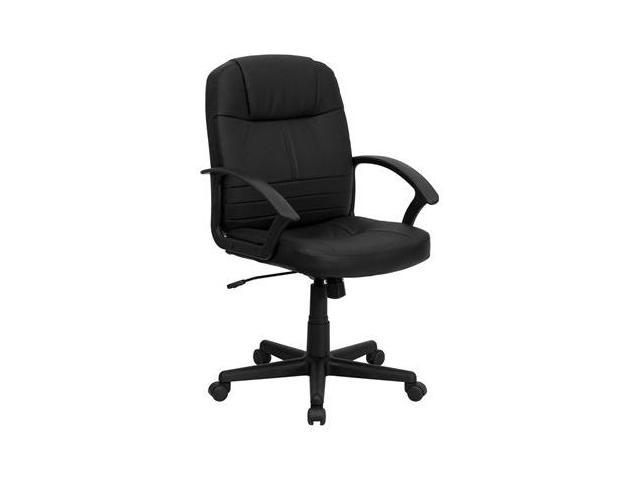 Flash Furniture Mid-Back Black Leather Executive Swivel Office Chair [BT-8075-BK-GG]