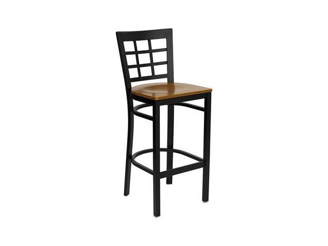 Flash Furniture HERCULES Series Black Window Back Metal Restaurant Bar Stool with Cherry Wood Seat [XU-DG6R7BWIN-BAR-CHYW-GG]