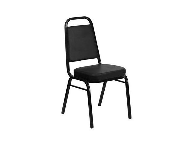 Flash Furniture HERCULES Series Trapezoidal Back Stacking Banquet Chair with Black Vinyl and 2.5'' Thick Seat - Black Frame [FD-BHF-1-GG]