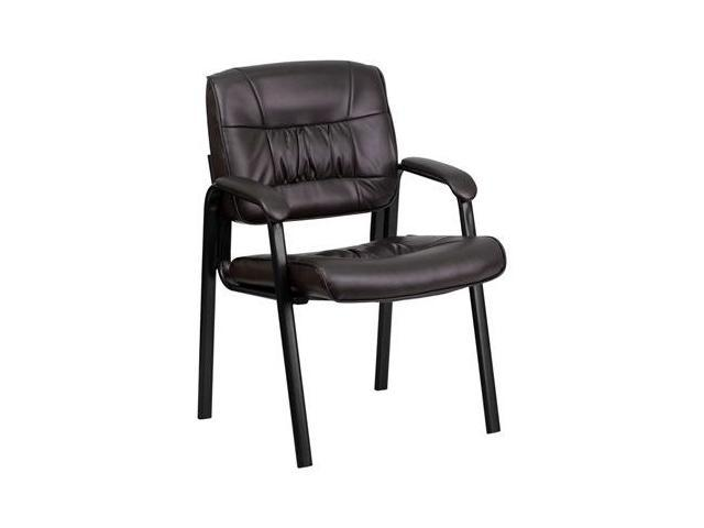 Flash Furniture Brown Leather Guest / Reception Chair with Black Frame Finish [BT-1404-BN-GG] - OEM