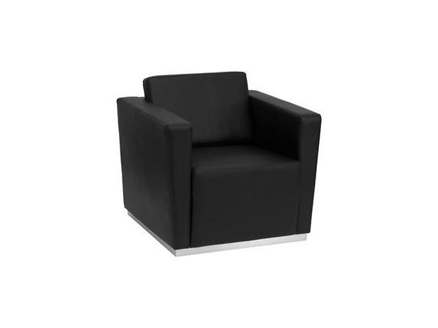 Flash Furniture HERCULES Trinity Series Contemporary Black Leather Chair with Stainless Steel Base [ZB-TRINITY-8094-CHAIR-BK-GG] - OEM