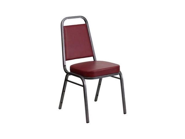 Flash Furniture HERCULES Series Trapezoidal Back Stacking Banquet Chair with Burgundy Vinyl and 2.5'' Thick Seat - Silver Vein Frame [FD-BHF-1-SILVERVEIN-BY-GG]