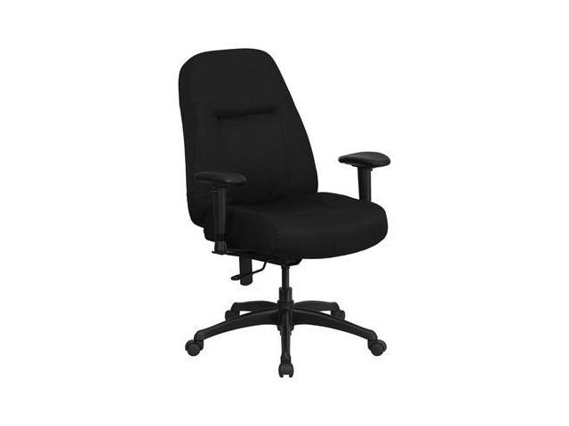 Flash Furniture HERCULES Series 400 lb. Capacity High Back Big & Tall Black Fabric Office Chair with Height Adjustable Arms and Extra WIDE Seat [WL-726MG-BK-A-GG]