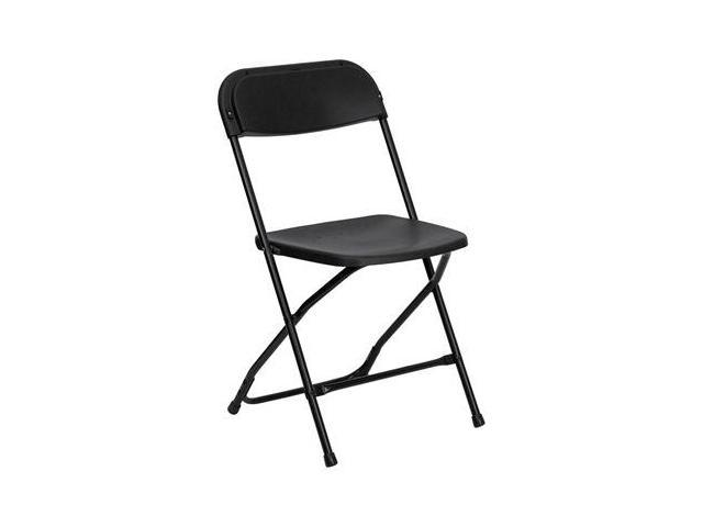 Flash Furniture HERCULES Series 800 lb. Capacity Premium Black Plastic Folding Chair [LE-L-3-BK-GG]