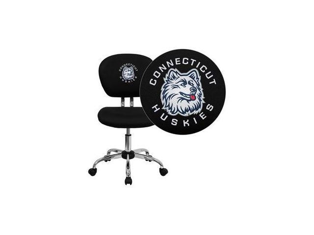 Flash Furniture Connecticut Huskies Embroidered Black Mesh Task Chair with Chrome Base [H-2376-F-BK-40023-EMB-GG]