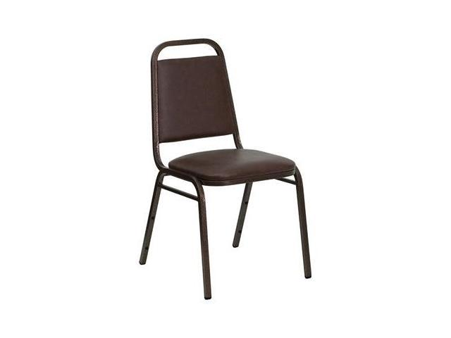 Flash Furniture HERCULES Series Trapezoidal Back Stacking Banquet Chair with Brown Vinyl and 1.5'' Thick Seat - Copper Vein Frame [FD-BHF-2-BN-GG]