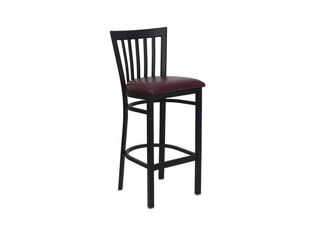 Flash Furniture HERCULES Series Black School House Back Metal Restaurant Bar Stool with Burgundy Vinyl Seat [XU-DG6R8BSCH-BAR-BURV-GG]