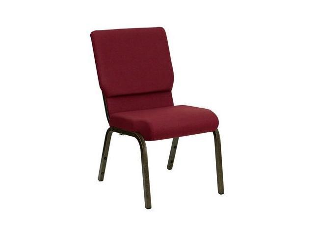 Flash Furniture HERCULES Series 18.5'' Wide Burgundy Stacking Church Chair with 4.25'' Thick Seat - Gold Vein Frame [XU-CH-60096-BY-GG]