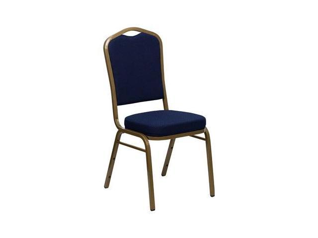Flash Furniture HERCULES Series Crown Back Stacking Banquet Chair with Navy Blue Patterned Fabric and 2.5'' Thick Seat - Gold Frame [FD-C01-ALLGOLD-2056-GG]