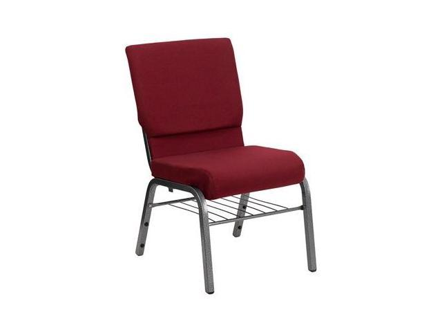 Flash Furniture HERCULES Series 18.5'' Wide Burgundy Church Chair with 4.25'' Thick Seat Book Rack - Silver Vein Frame [XU-CH-60096-BY-SILV-BAS-GG]